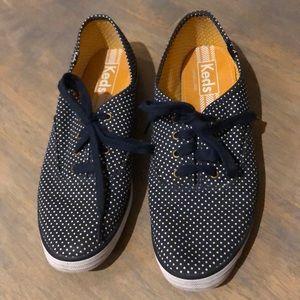 KEDS navy/white dot sneakers, Sz 8.5, GUC